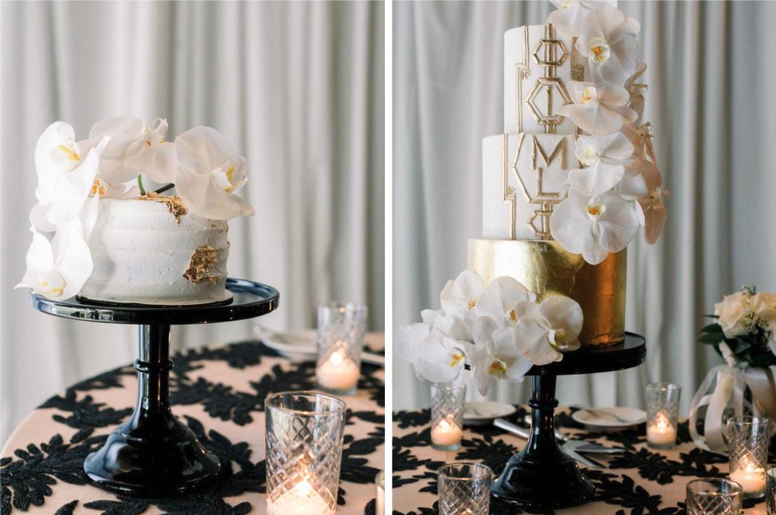 Metallic gold wedding cakes