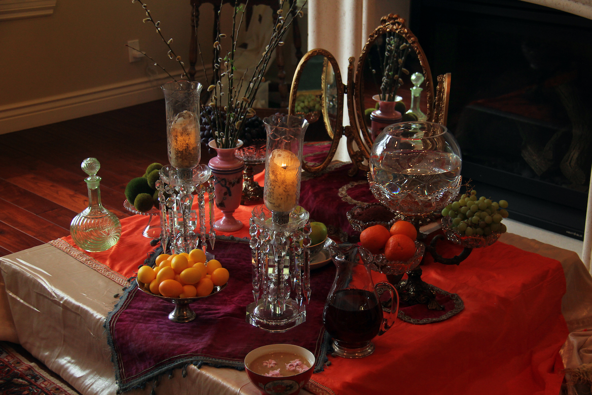 red Persian new year haft-seen