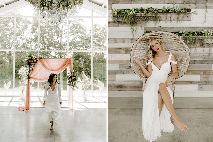 two boho brides wearing white at styled shoot