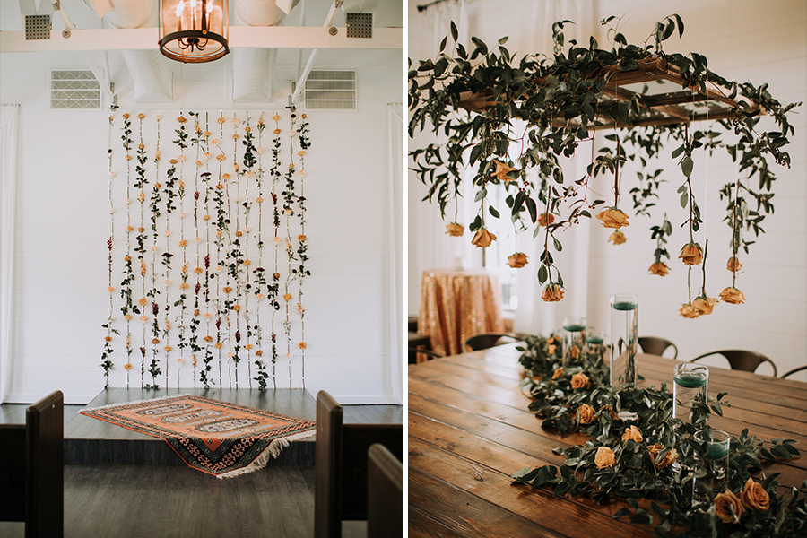 hanging rose florals for ceremony (left) hanging florals and cascading garland for reception table (right)
