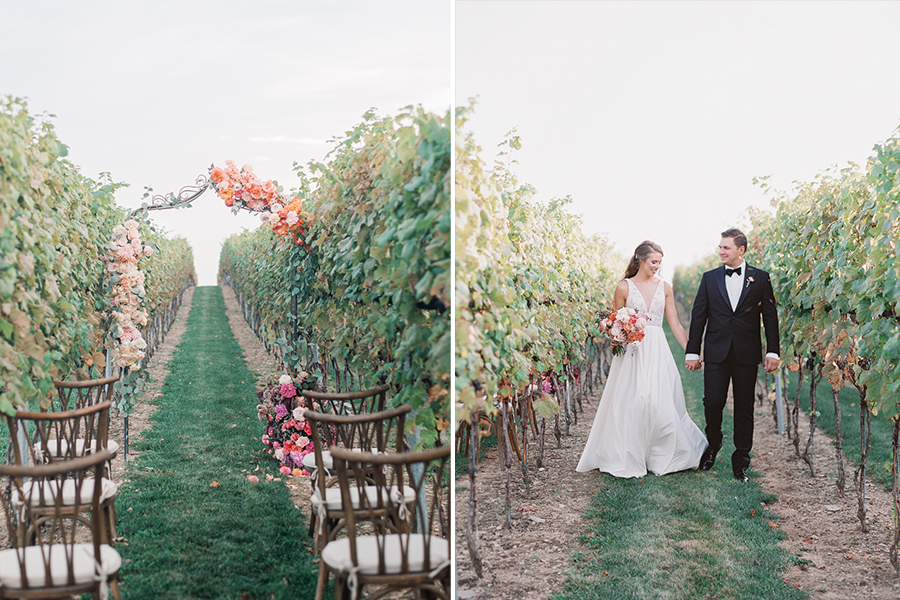 photo of archway and seating (left) a couple walking down an aisle of forestry holding hands (right)