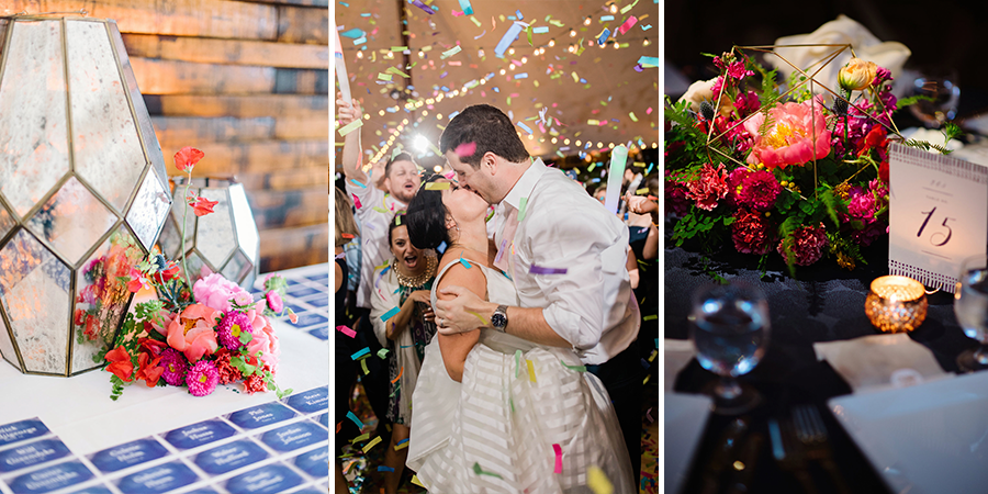 two decorated tables and a couple kissing among confetti after ceremony
