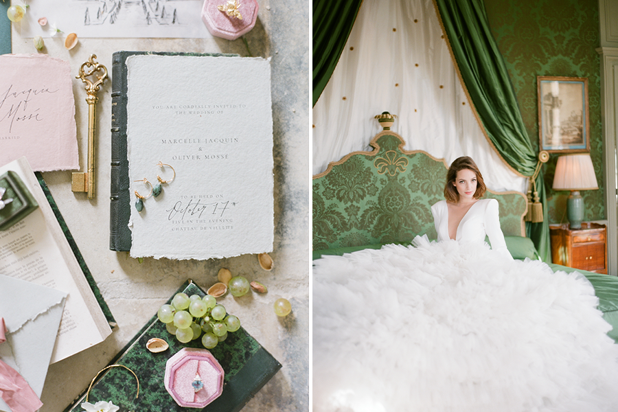 green and white Old World style invitation suite (left), bride with cascading gown in Old world style mansion inspired venue (right)