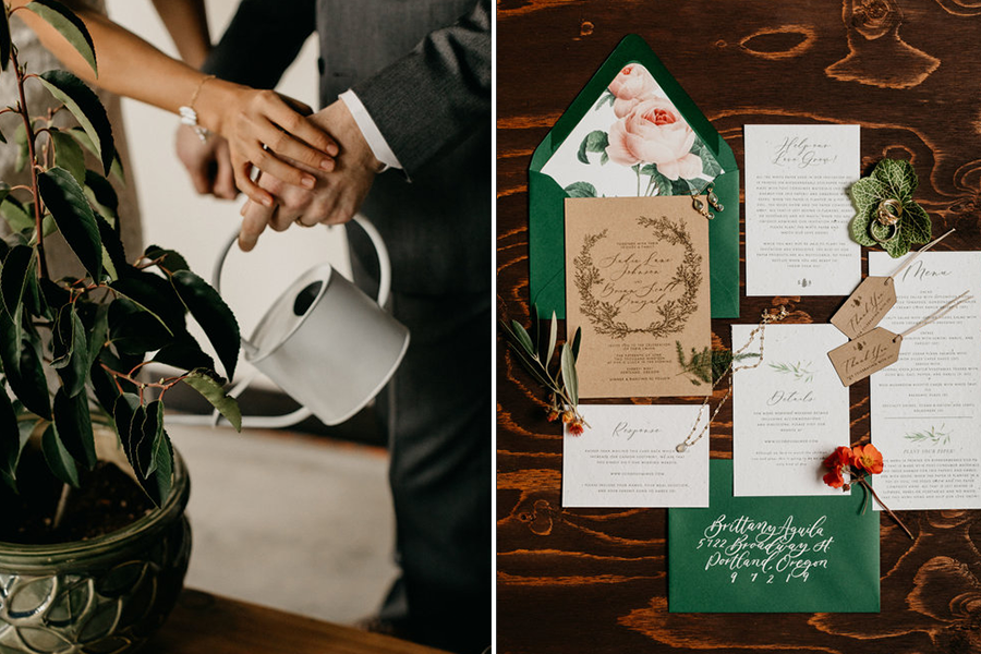 photo of couple holding watering can and watering plant (left), eco friendly invitation suite (right)