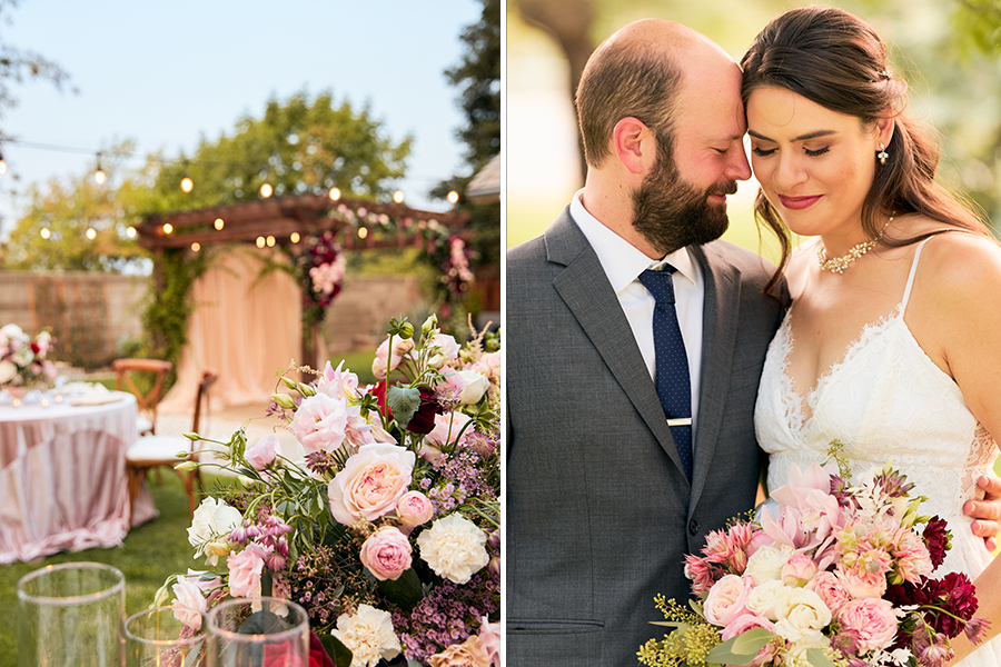 outdoor garden venue with green, white, and pink florals (left), bride and groom snuggling (right)