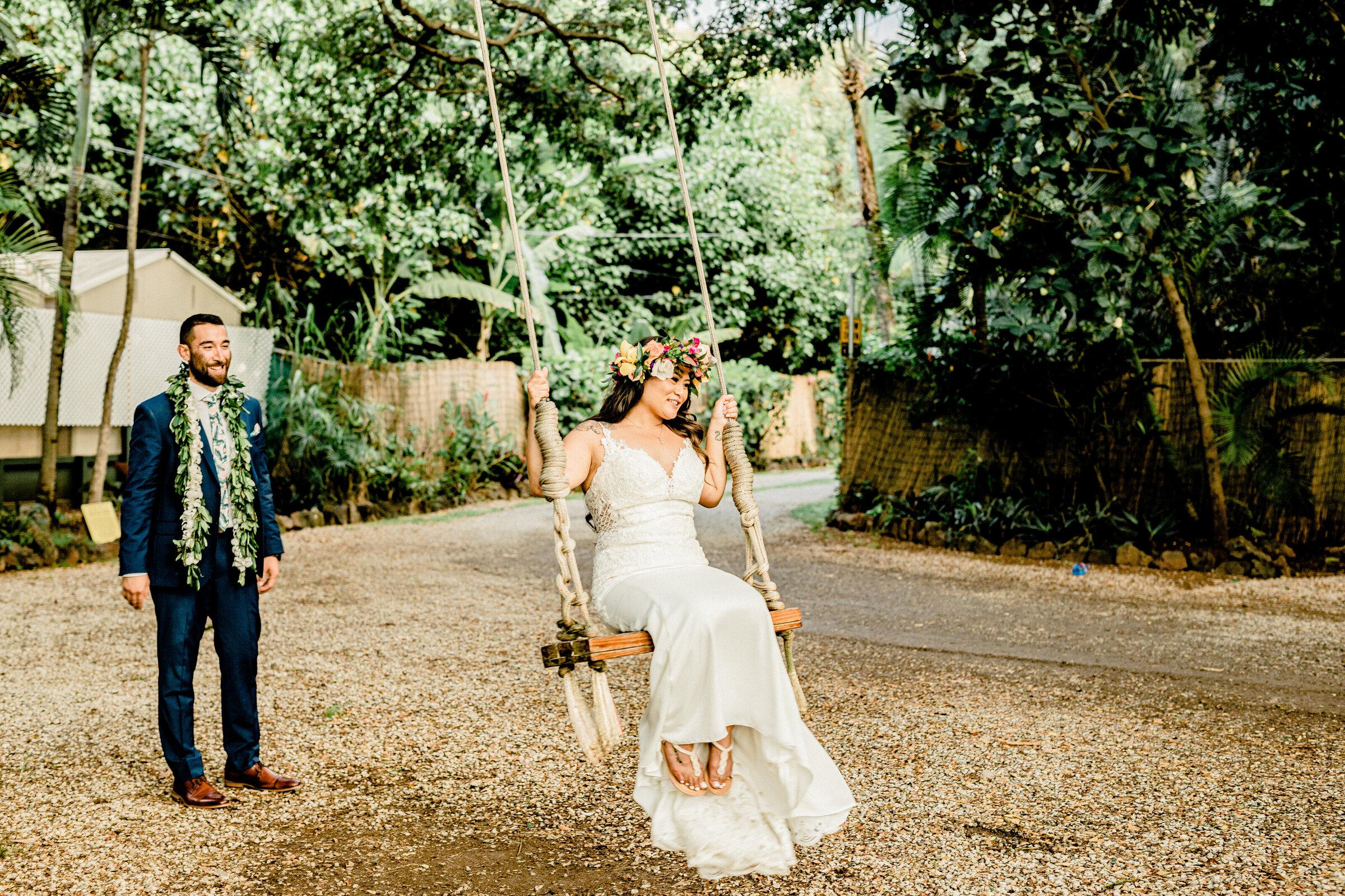 Hawaiian Bride on Swing