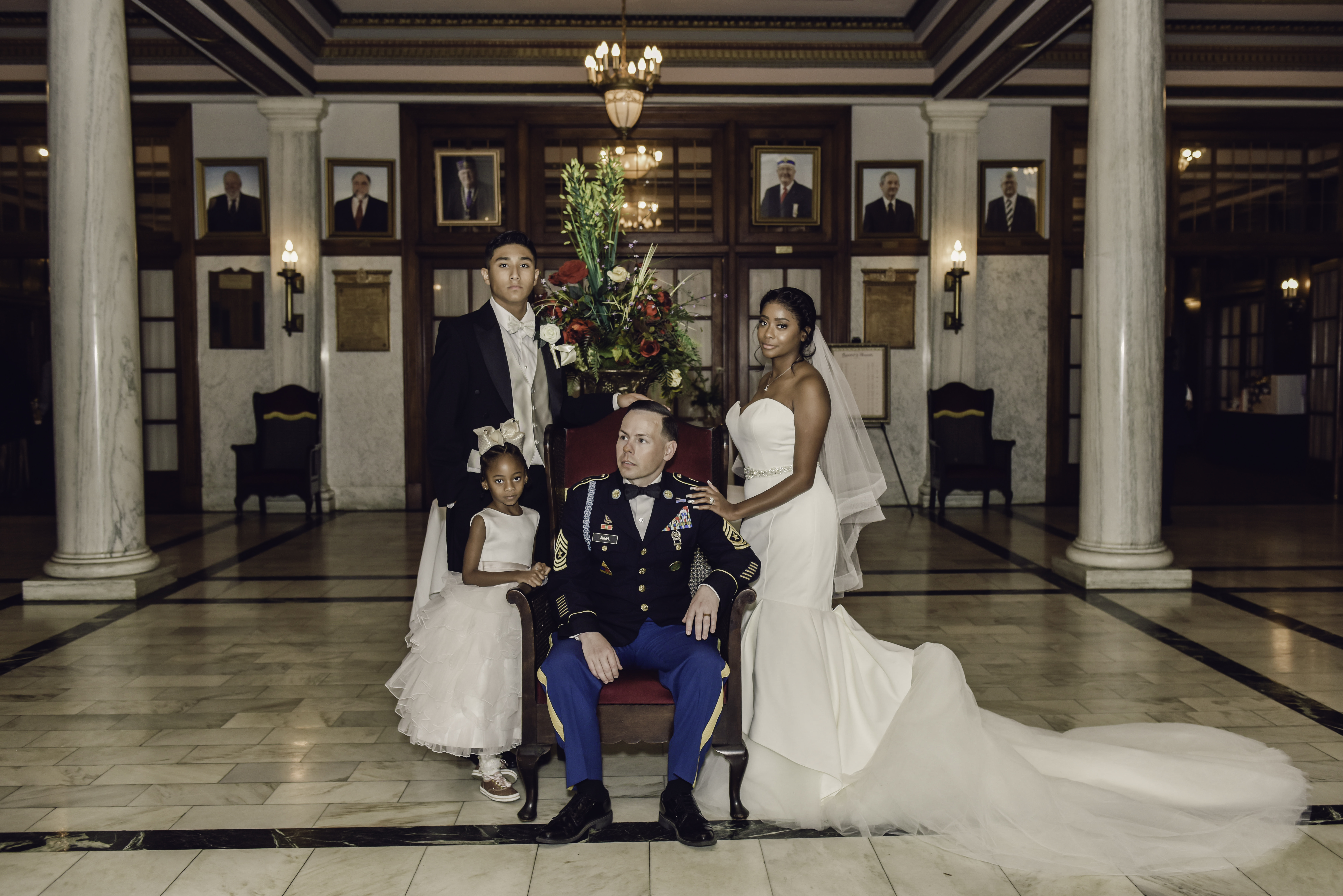 Military couple and their family