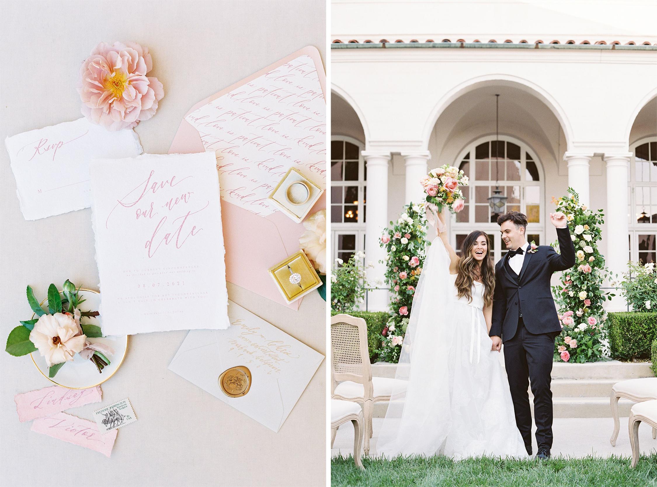Stationery and couple celebrating