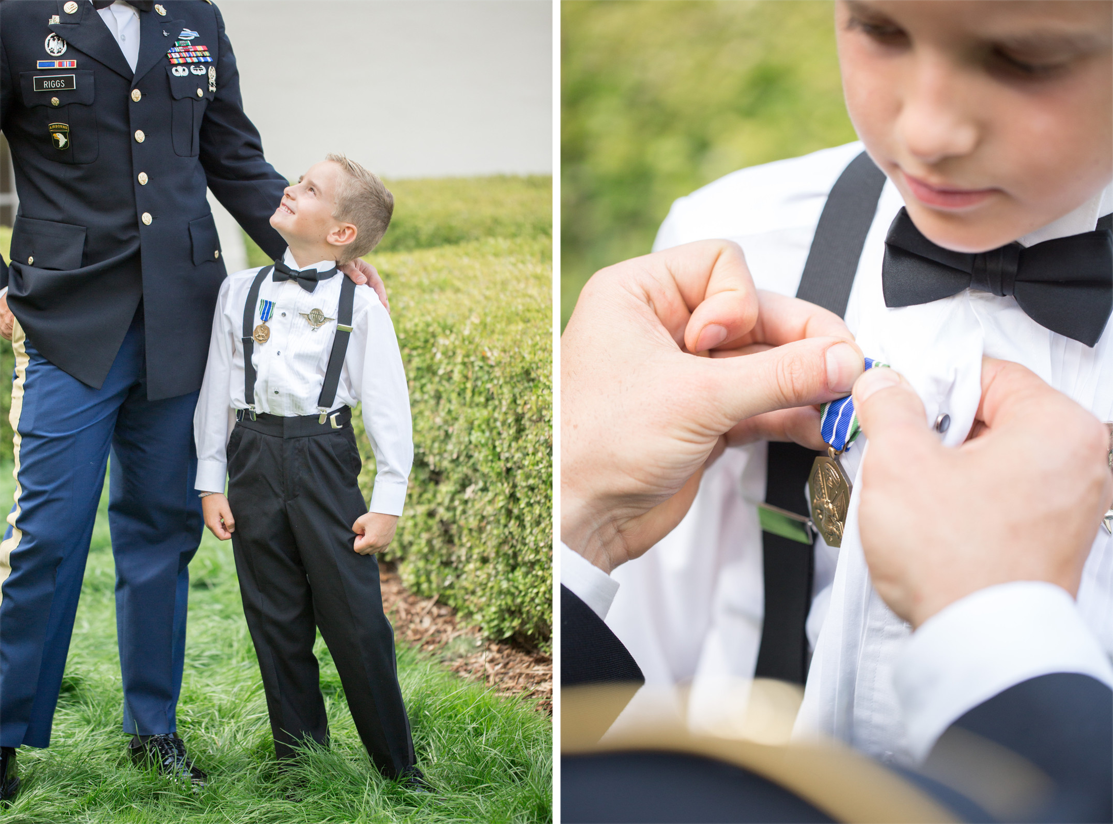Military Groom Putting Badge on Son