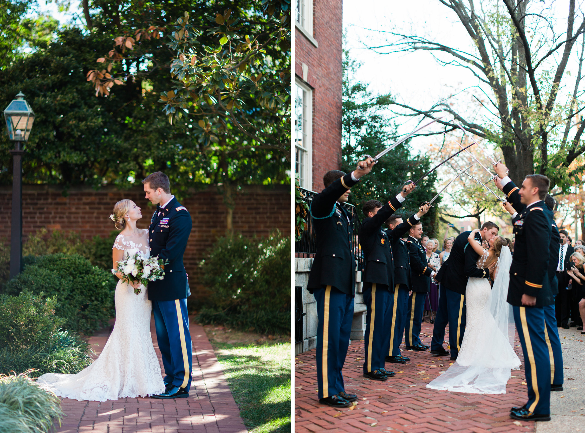 Saber arch at military wedding