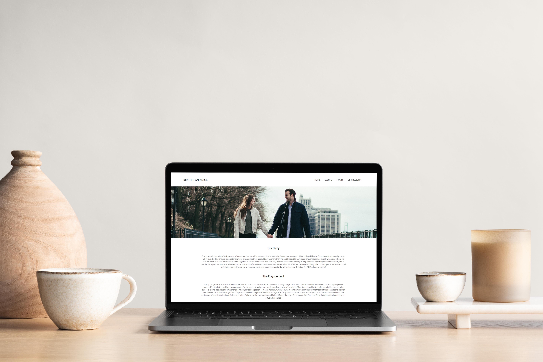 Laptop showing a wedding website