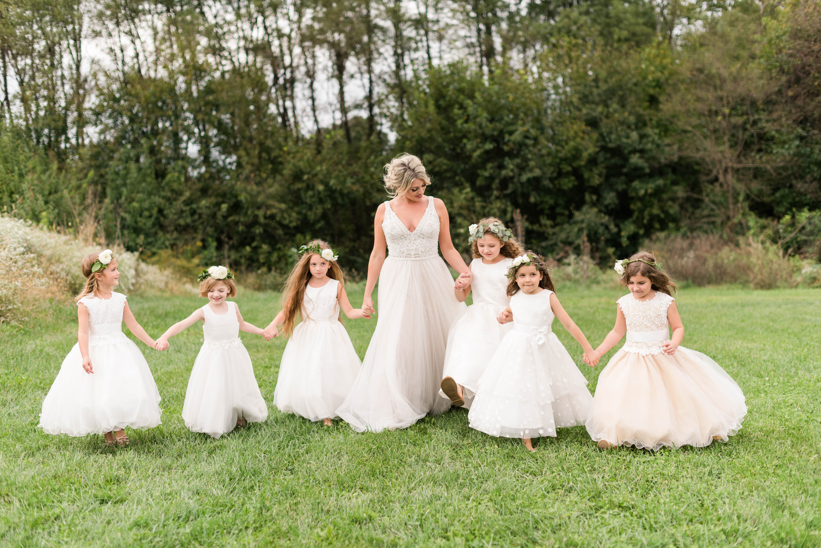 Bride and Six Flower Girls