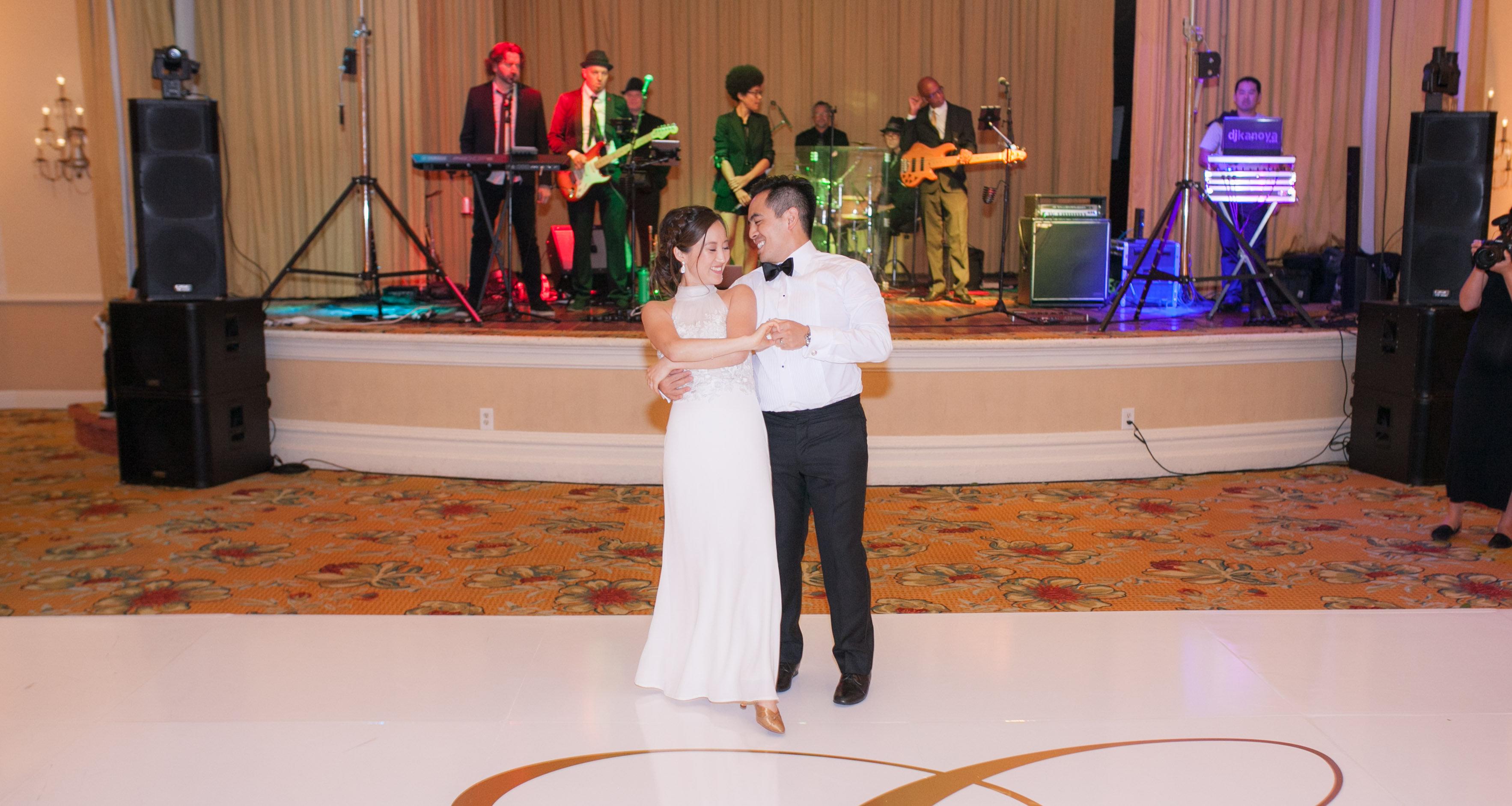 Band and couple dancing