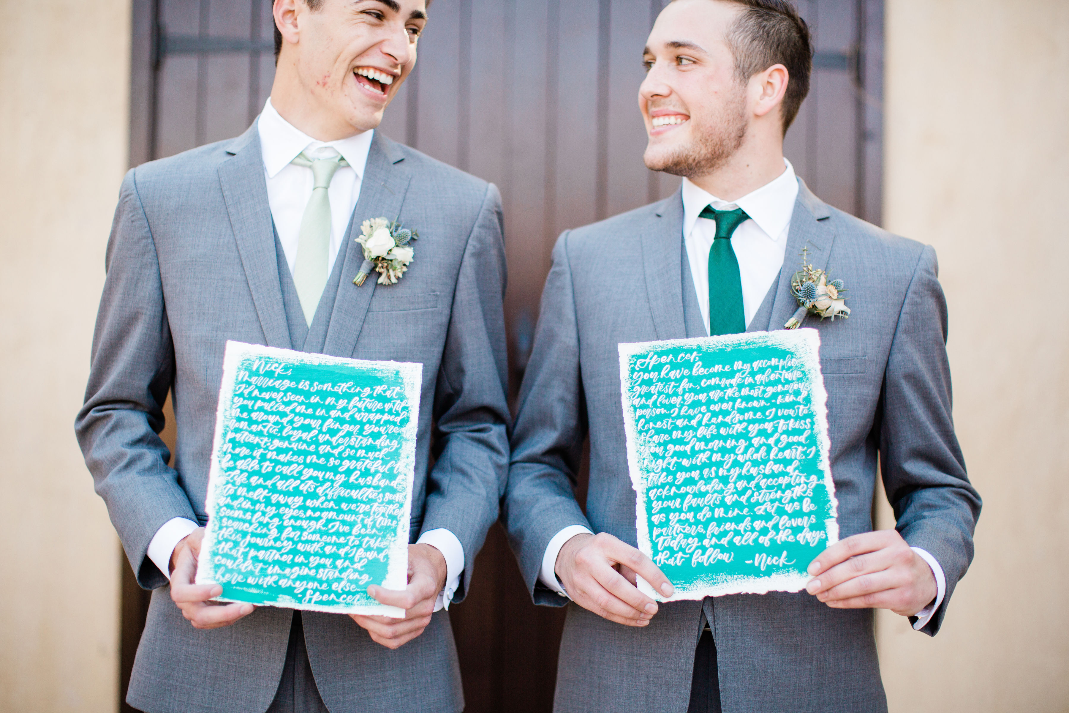 Grooms Holding Vows