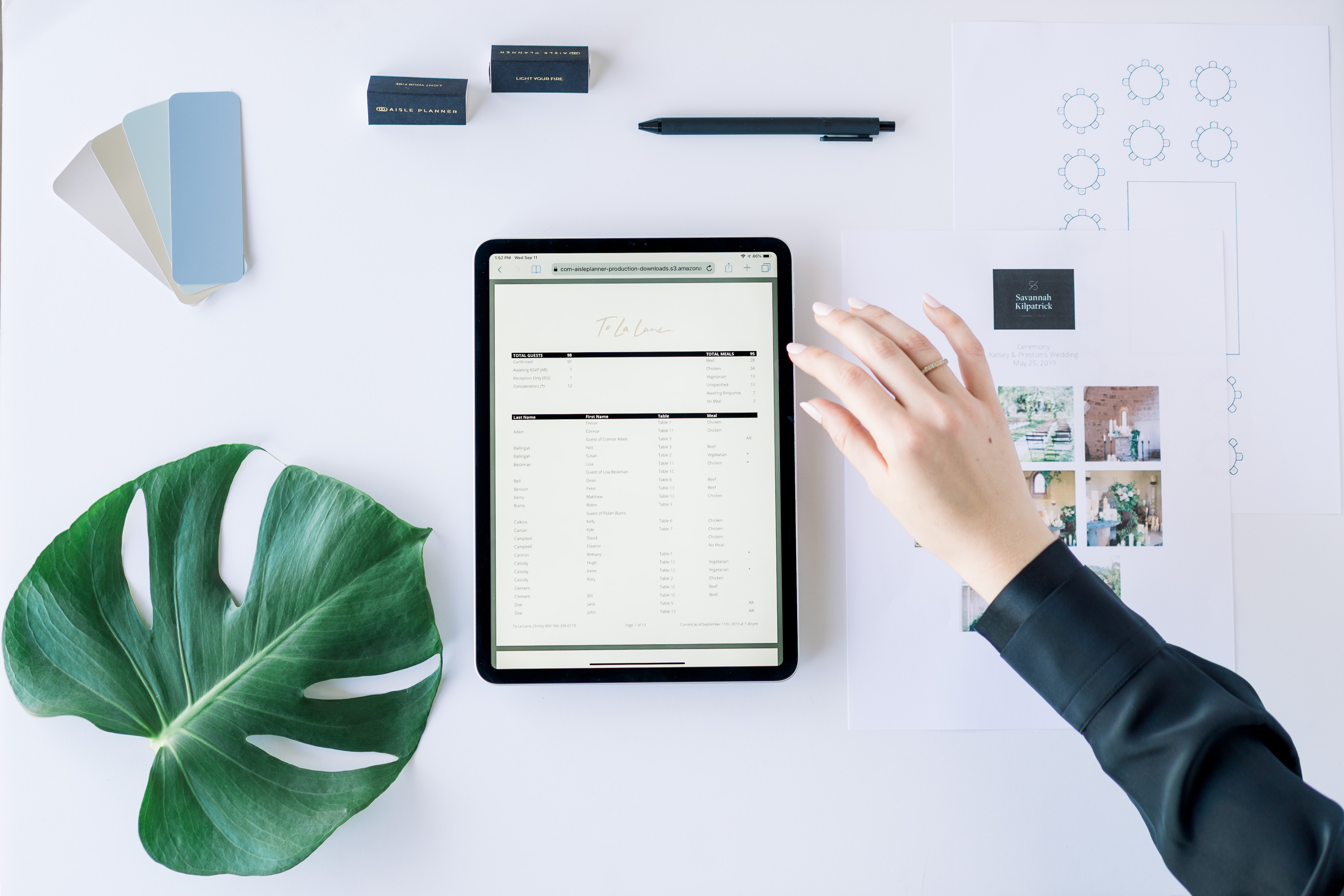 Tablet and office supplies