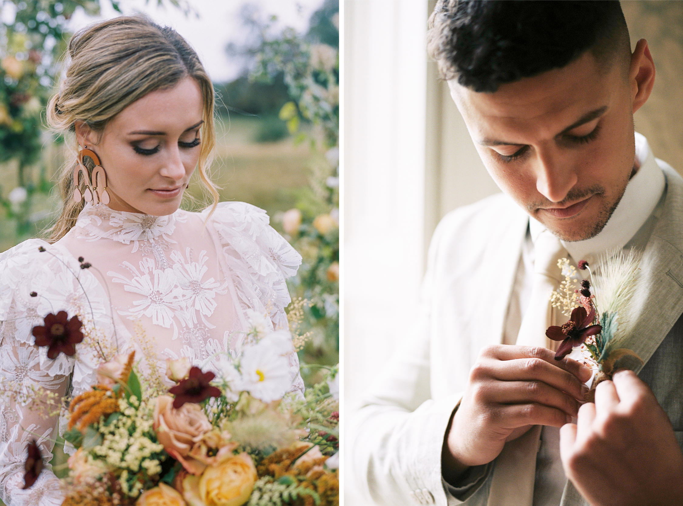 Close up of bride and groom fashion