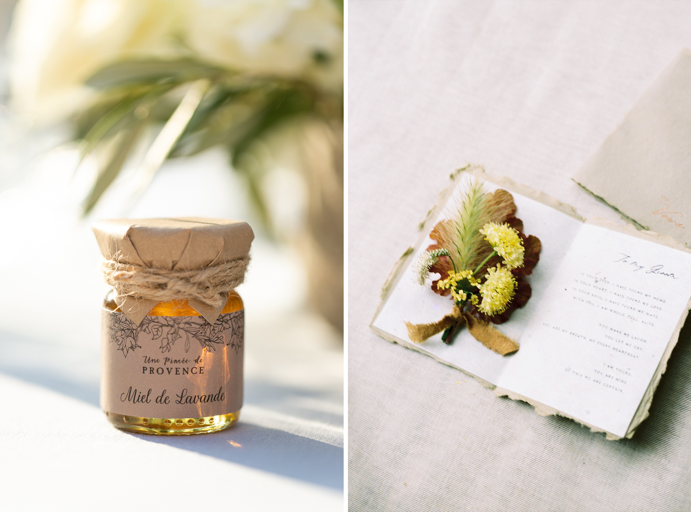 Honey favor and card