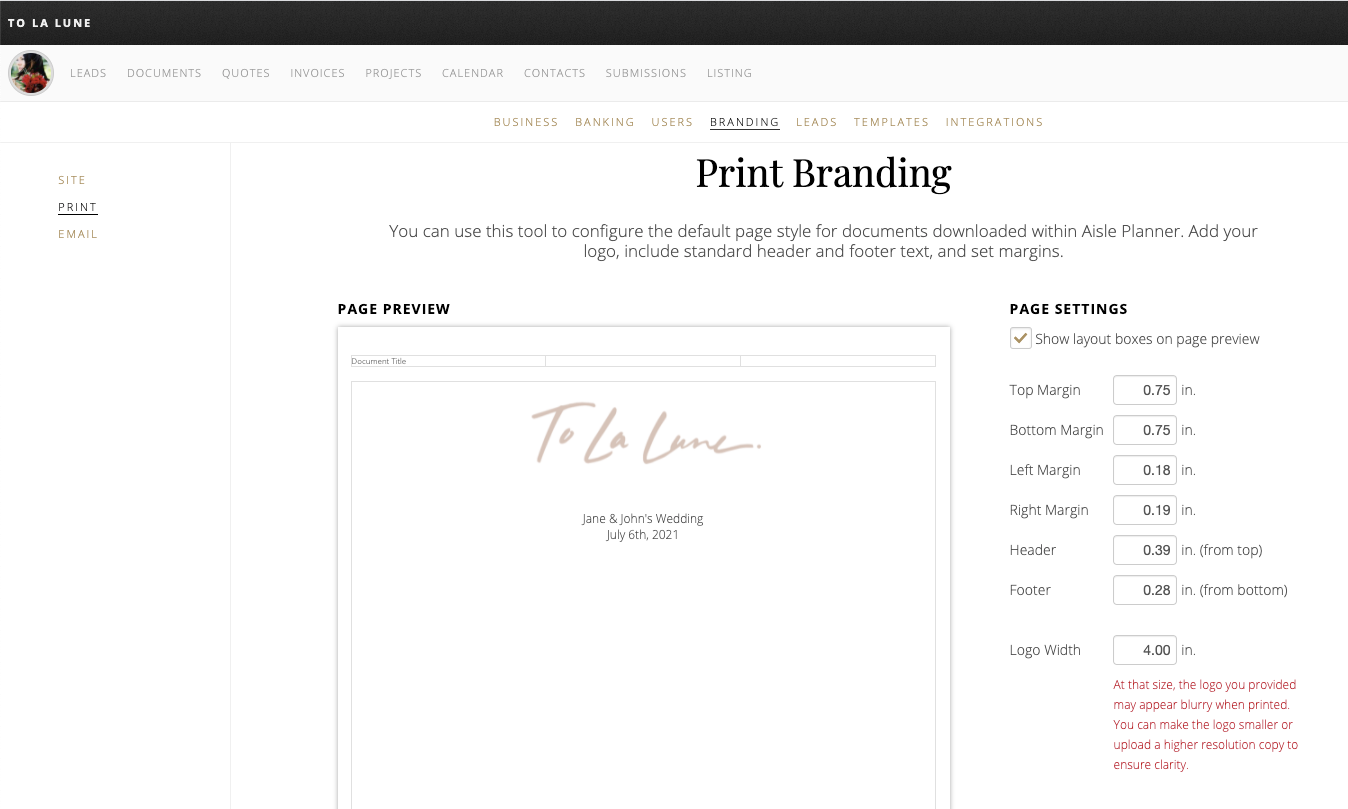 print branding screenshot