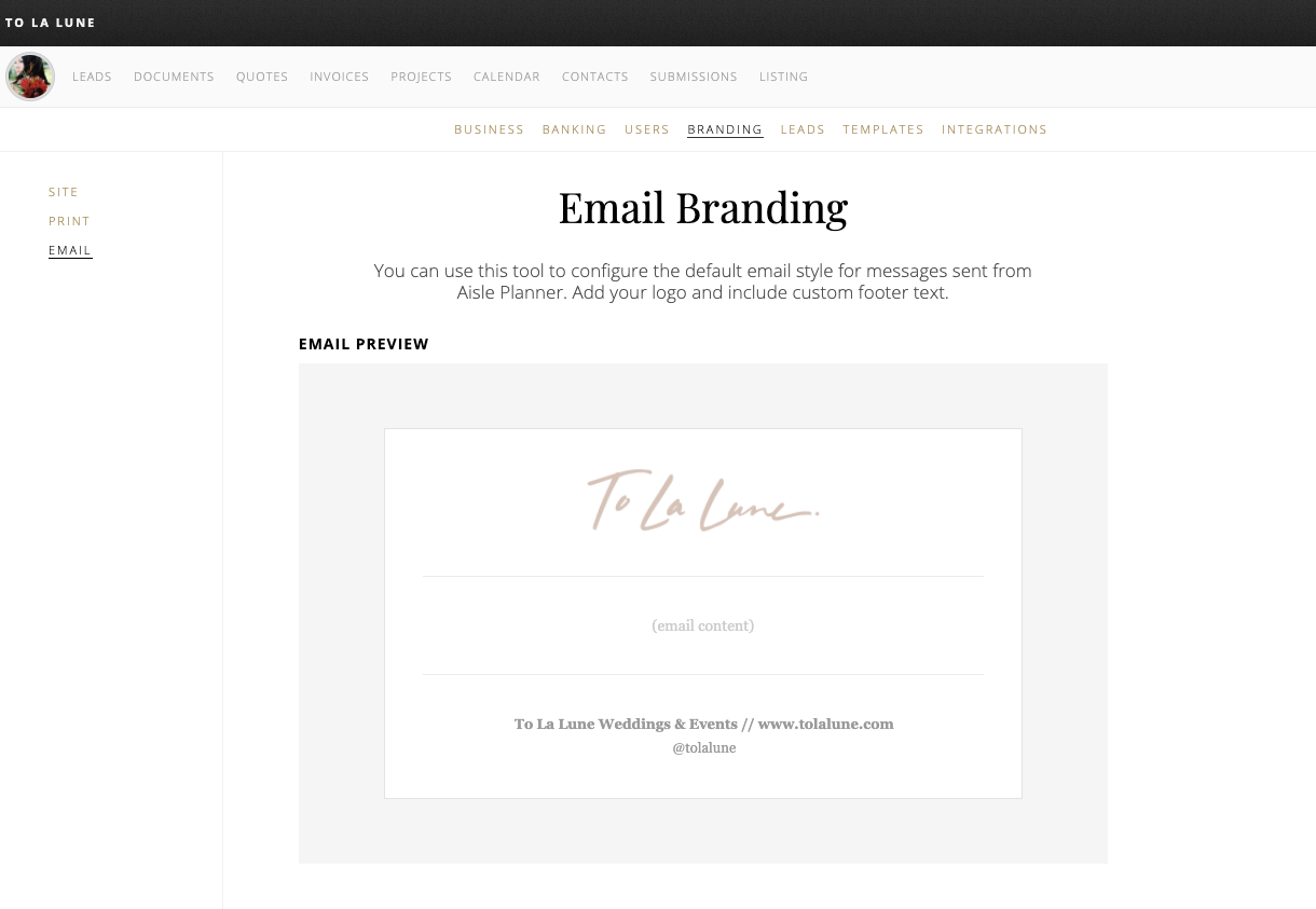 email branding screenshot