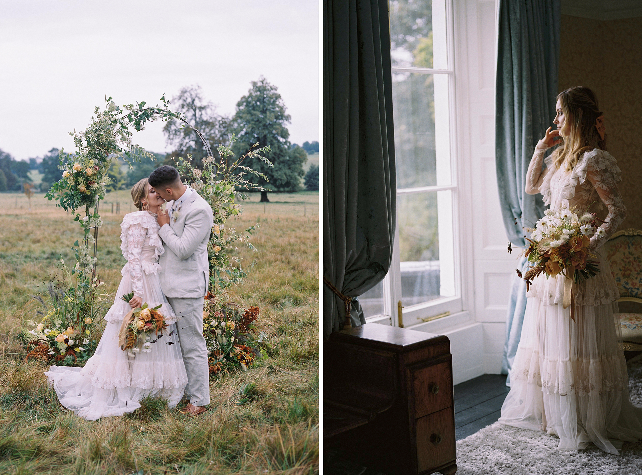 Couple in country side and bride looking out the window