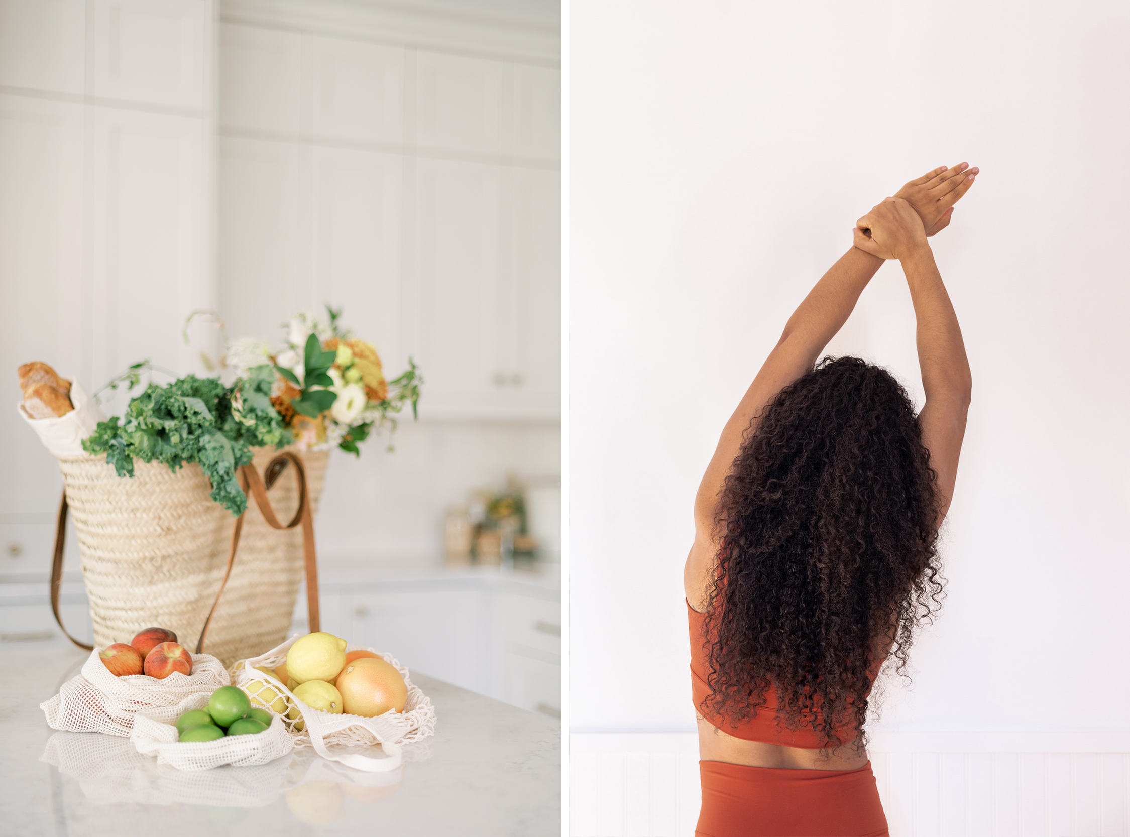 healthy food and person stretching
