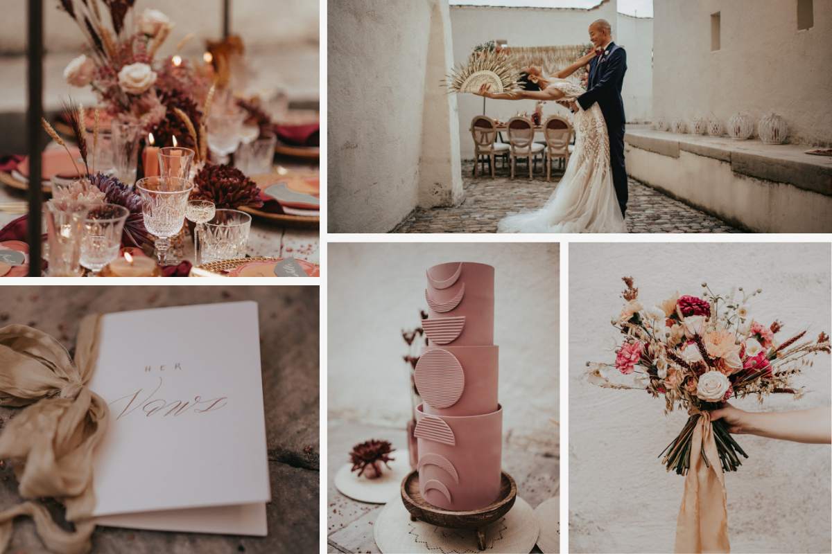 Romantic collage of couple, flowers, tablescape, cake