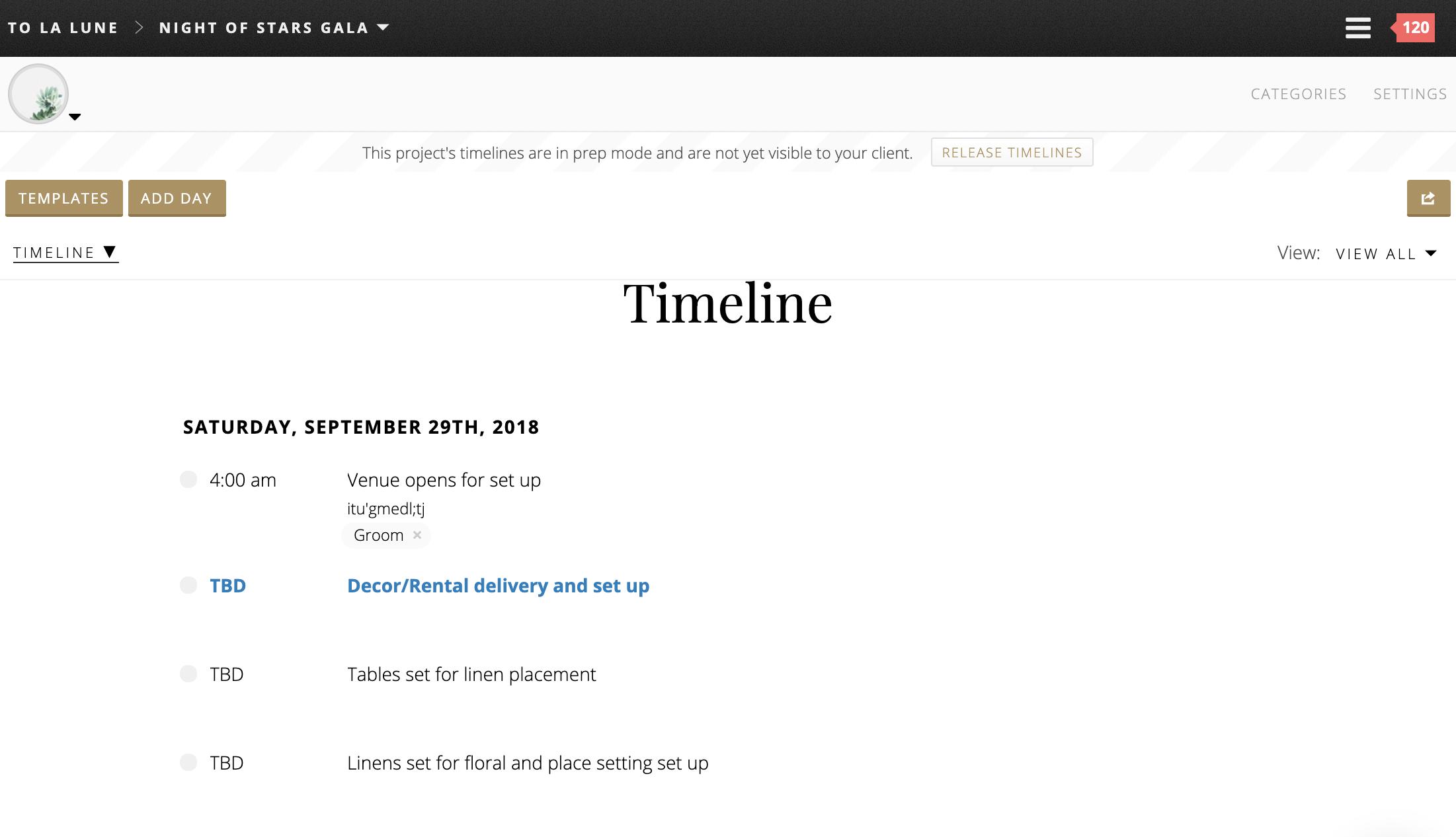 Timelines screenshot