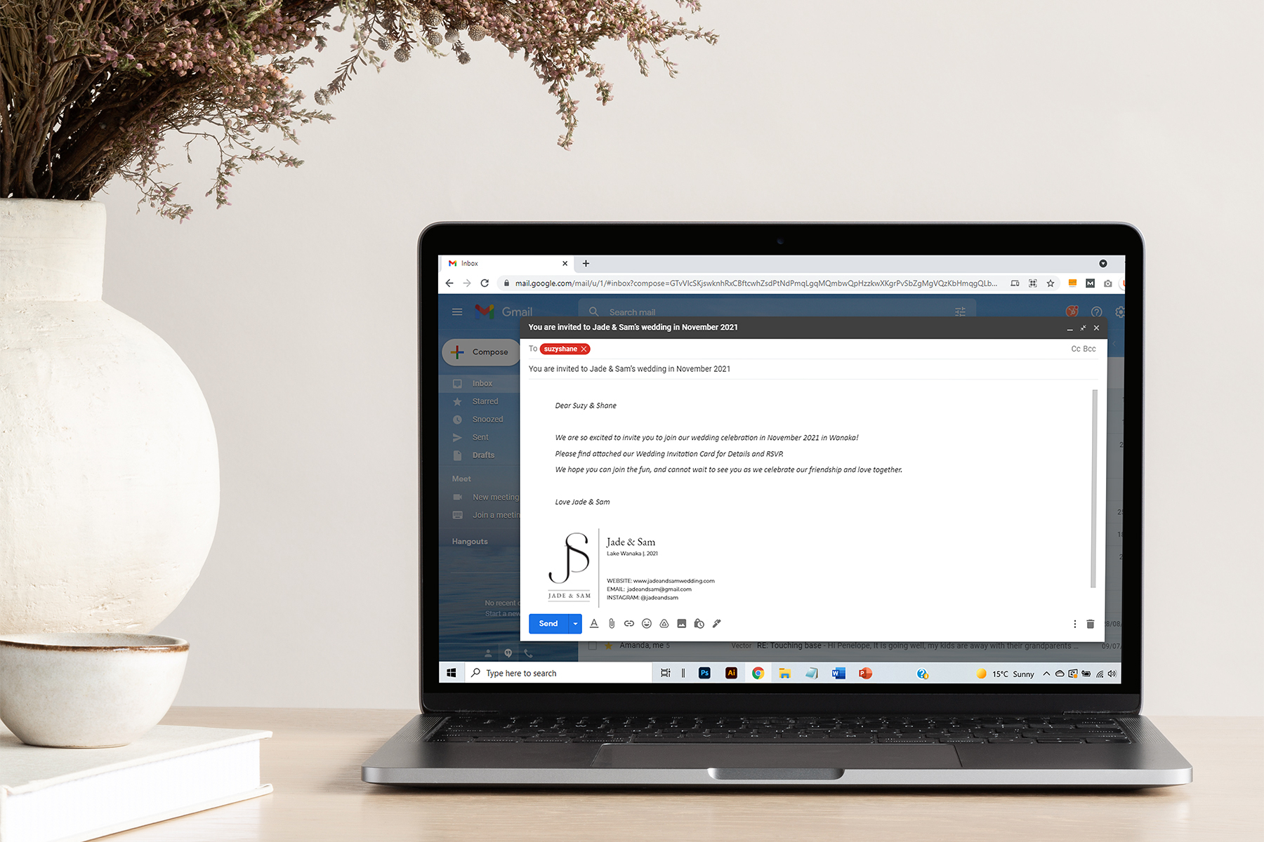 Laptop with email invite