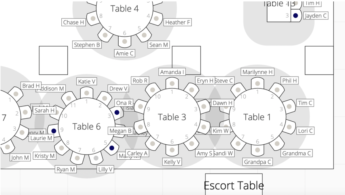 Table and seats layout