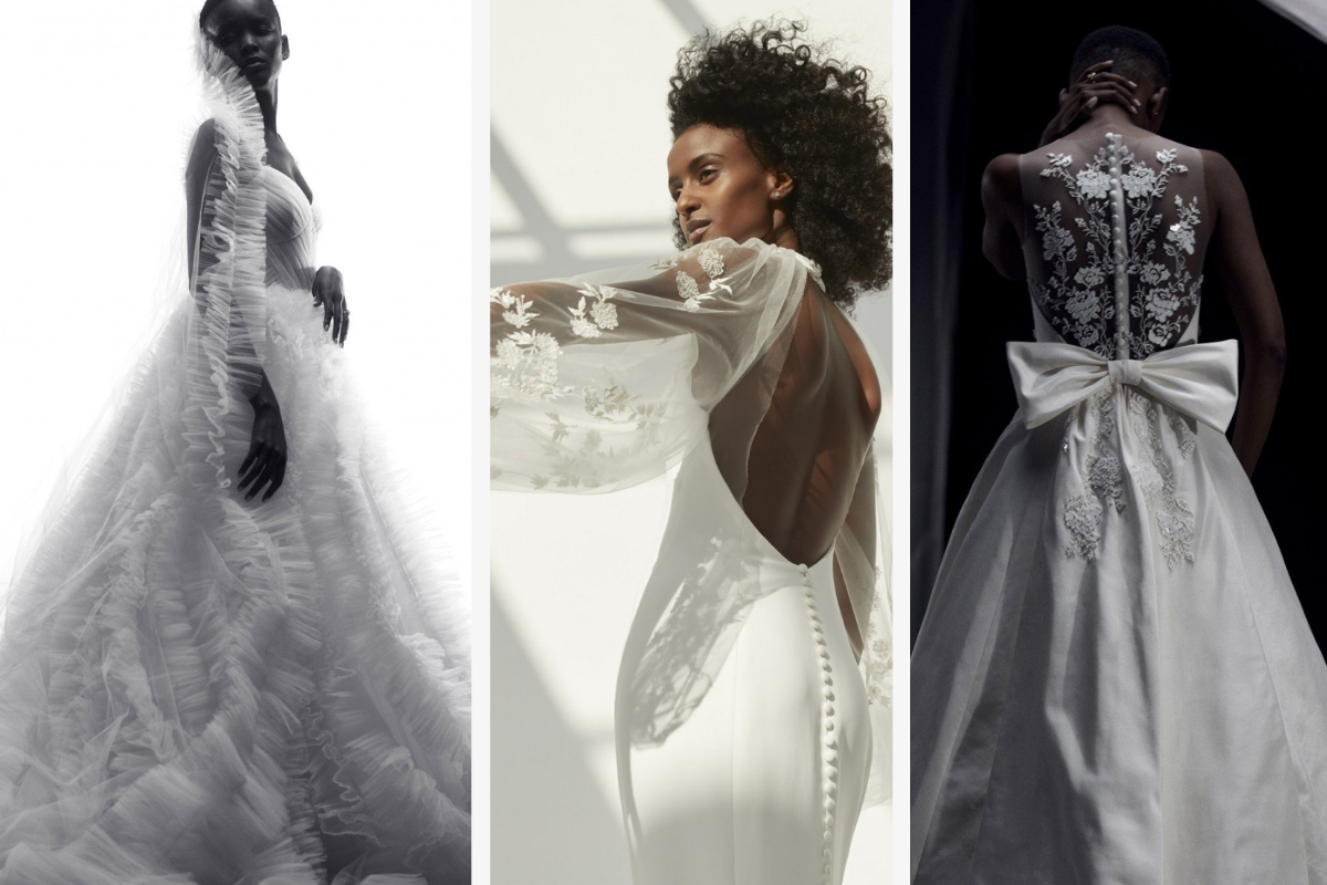 Black models wearing tule, lace, and bow dresses