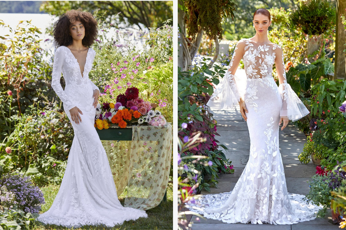 Long form fitted silhouettes, lace and sheer white gowns