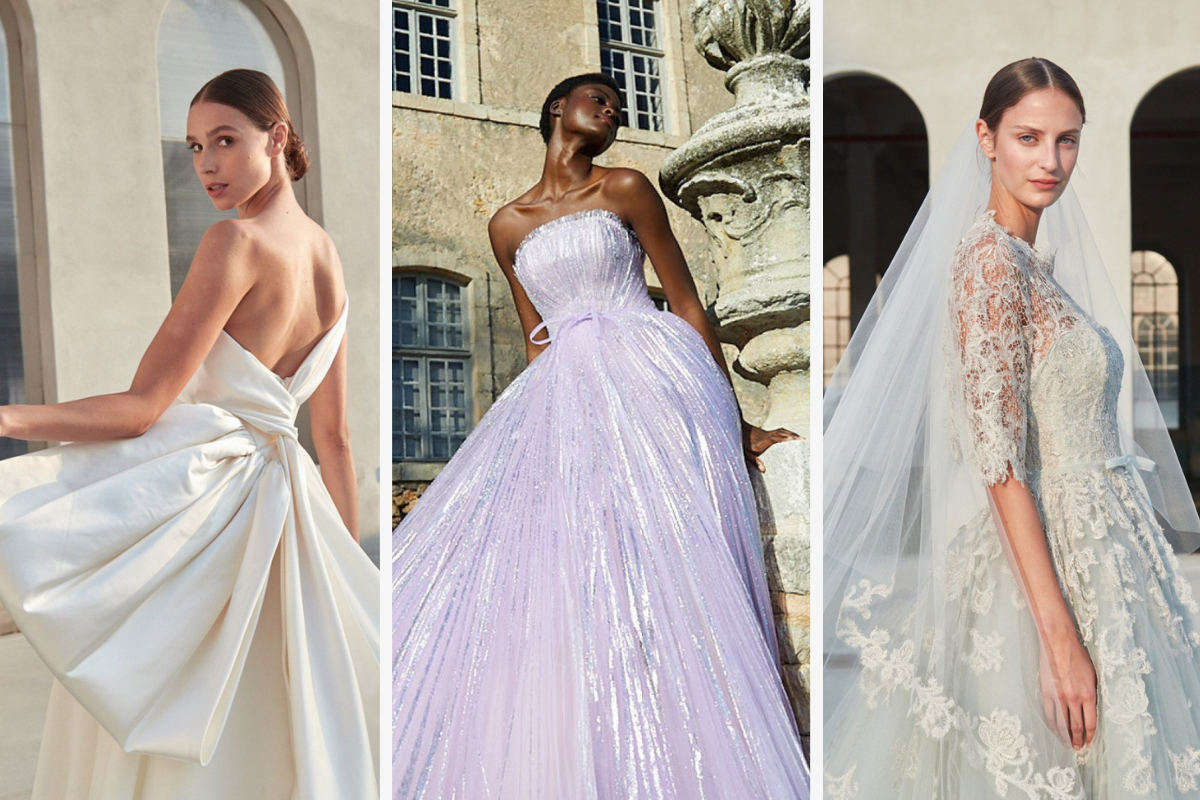 1st dress, cream with low back and big bow, 2nd dress: light purple tulle dress, 3rd dress: classic lace in mint green