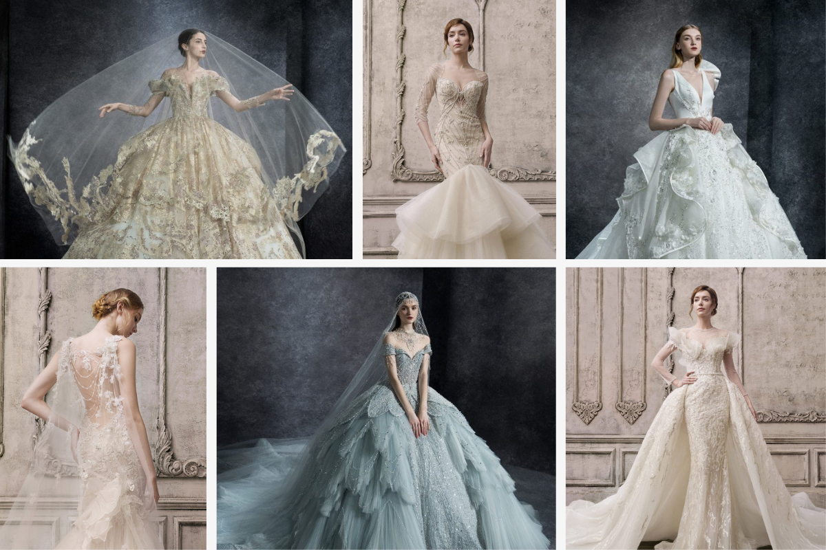 Vintage royal gowns in beige, blue, and tan