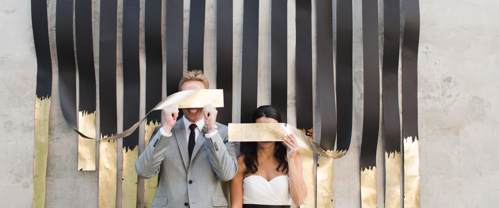 gold metallic wedding ceremony
