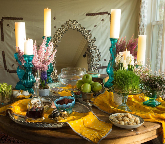 A Persian Sofreh decorated for New Year's celebration