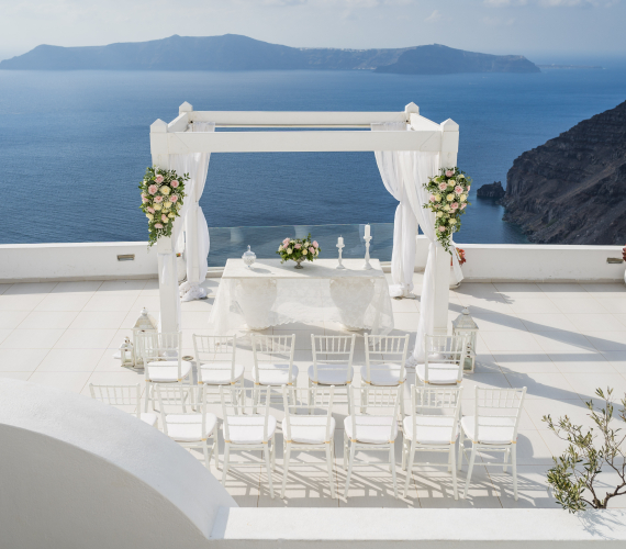 White Wedding Ceremony Design in Santorini