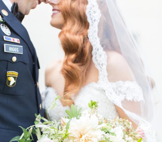 Military wedding bride and groom