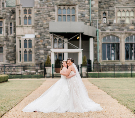 Brides in front of castle