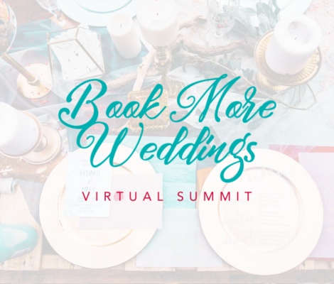 Book more weddings logo on a background of a tablescape