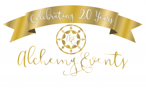 Alchemy Events logo in gold with white background and Celebrating 20 years ribbon