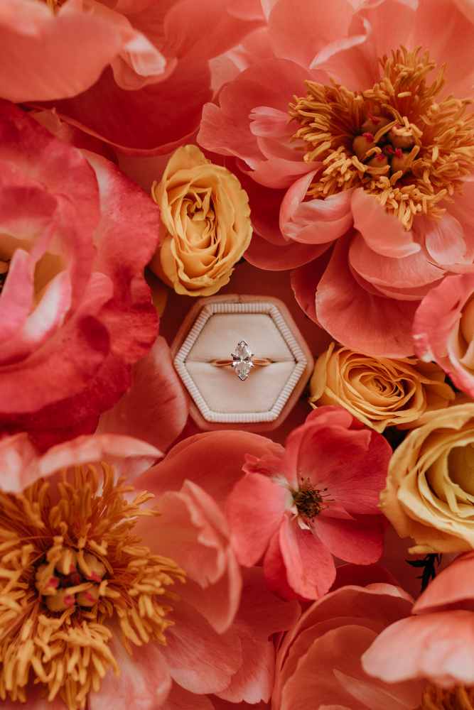 Pink Flowers and Engagement Ring