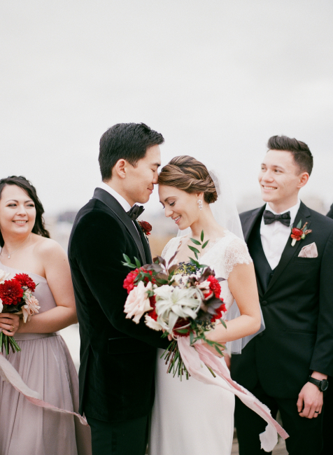Newlyweds Outside with Bouquet