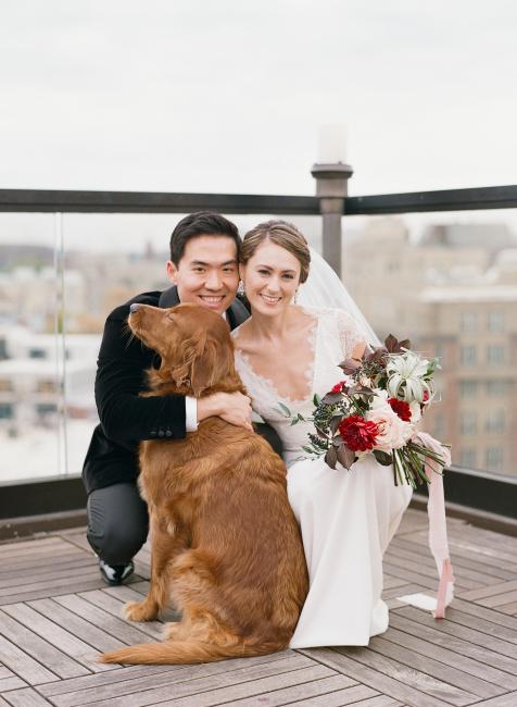 Newlyweds with Dog