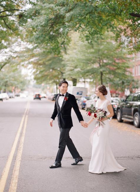 Newlyweds Walking On Street