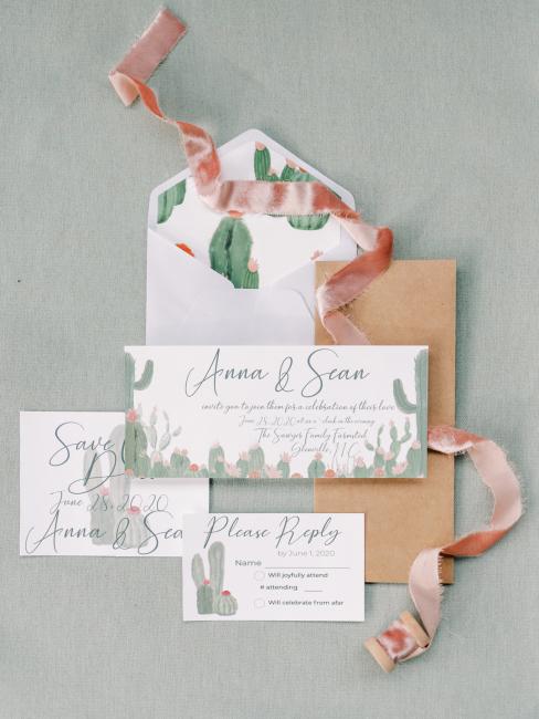 Wedding Invitations with Cacti Print