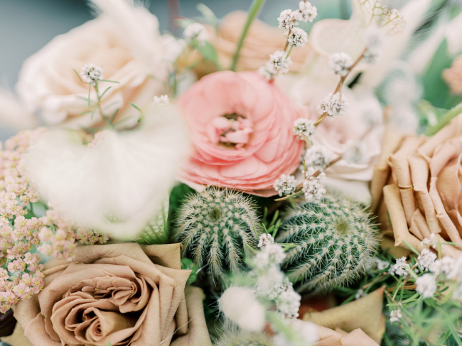 Closeup of Cacti in Bridal Bouquet