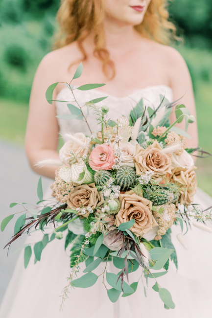 Bridal Bouquet with Roses and Cacti