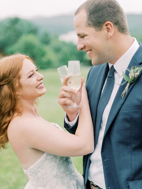 Newlyweds Toasting Champagne