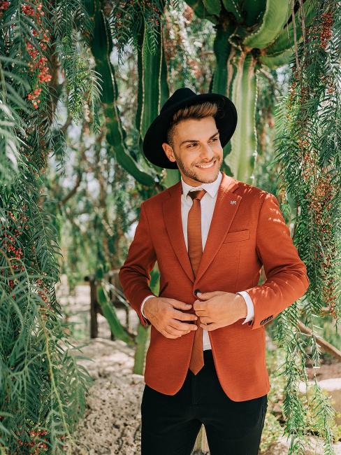 Groom in Red Suit