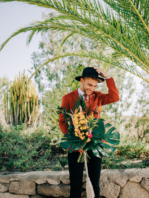 Groom with Tropical Bouquet